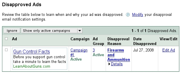 Google's censorship of gun rights image